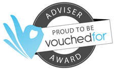 This is the VouchedFor logo for Advisers who have been awarded.
