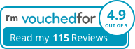 VouchedFor read my reviews button which takes you to VouchedFor website to read Sandy Ameer-Beg reviews