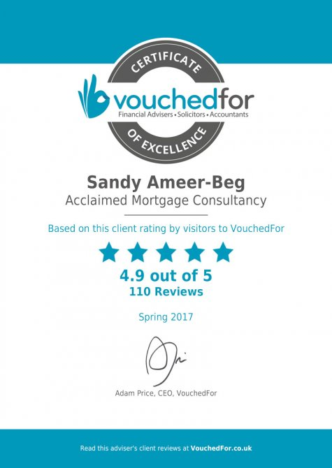 Certificate awarded to Sandy Ameer-Beg from VouchedFor for getting 4.9 out of 5 stars from reviews